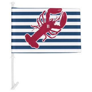 Nautical Red Lobster Monogram Blue White Stripe Car Flag