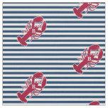Nautical Red Lobster Monogram Blue White Stripe Fabric