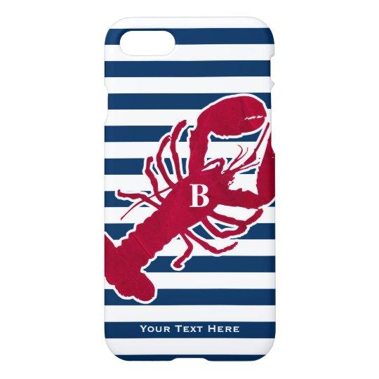 Nautical Red Lobster Monogram Blue White Stripe iPhone