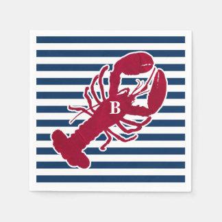 Nautical Red Lobster Monogram Blue White Stripe Paper Serviettes