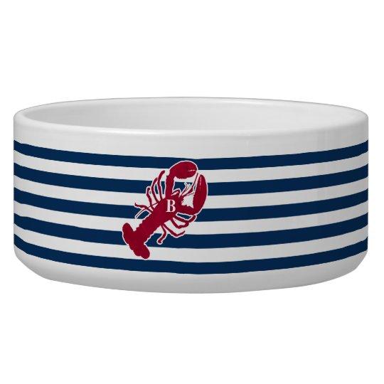 Nautical Red Lobster Monogram Blue White Stripe Pet Bowls