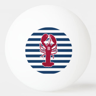 Nautical Red Lobster Monogram Blue White Stripe Ping Pong Ball