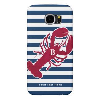 Nautical Red Lobster Monogram Blue White Stripe Samsung Galaxy S6 Cases