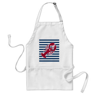 Nautical Red Lobster Monogram Blue White Stripe Standard Apron
