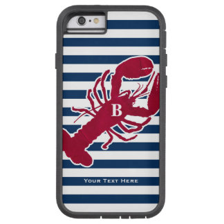 Nautical Red Lobster Monogram Blue White Stripe Tough Xtreme iPhone 6 Case