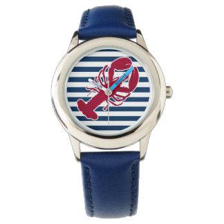 Nautical Red Lobster Monogram Blue White Stripe Watch