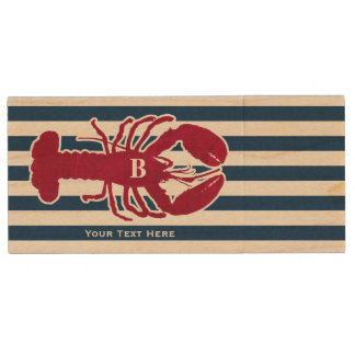 Nautical Red Lobster Monogram Blue White Stripe Wood USB Flash Drive
