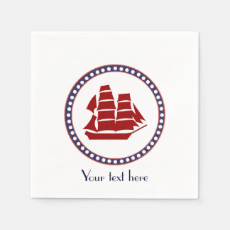 Nautical red ship and grey stripes with text disposable napkin