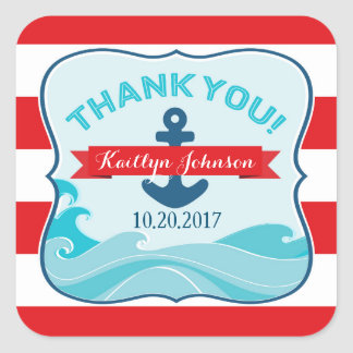 Nautical Red Stripe Anchor Ocean Wave Thank You Square Sticker