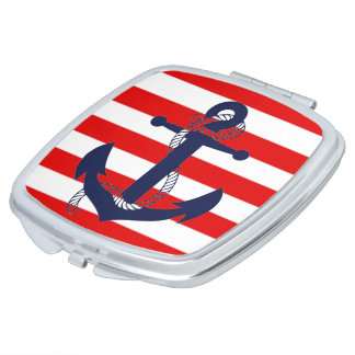 NAUTICAL RED STRIPE with BLUE ANCHOR Mirror For Makeup
