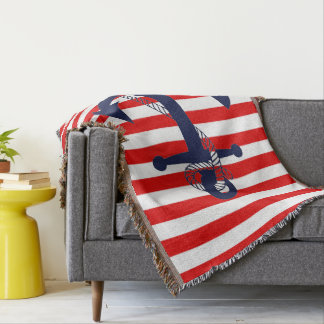 Nautical Red Stripe with Blue Anchor Throw Blanket