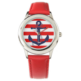 NAUTICAL RED STRIPE with BLUE ANCHOR Wrist Watch