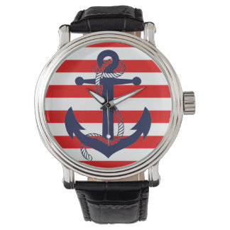 NAUTICAL RED STRIPE with BLUE ANCHOR Wristwatch