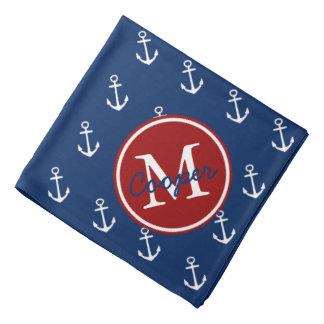 Nautical Red White and Blue Anchor Monogram Bandana