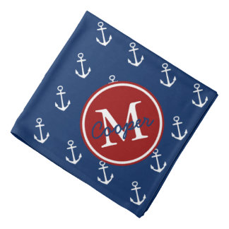 Nautical Red White and Blue Anchor Monogram Bandanas