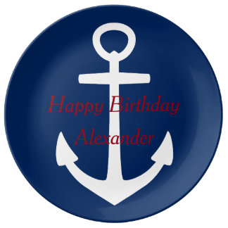 Nautical Red White and Blue Happy Birthday Porcelain Plates