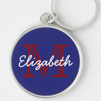 Nautical Red White and Blue Monogram Keychain