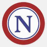 Nautical Red White and Blue Monogram Round Sticker