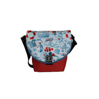 Nautical Red White And Blue Pattern Commuter Bag