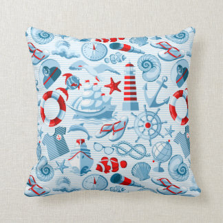 Nautical Red White And Blue Pattern Cushion
