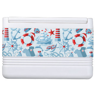 Nautical Red White And Blue Pattern Igloo Cooler
