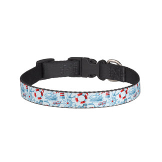 Nautical Red White And Blue Pattern Pet Collar