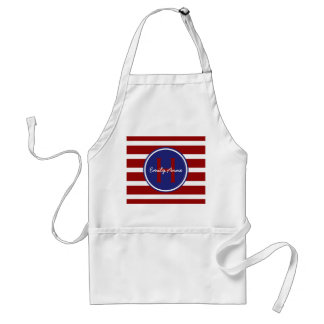 Nautical Red White and Blue Stripes Monogram Standard Apron
