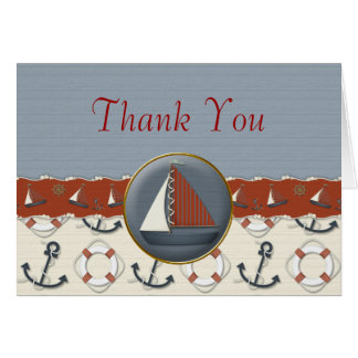Nautical Red White Blue Sailboat Thank You Cards