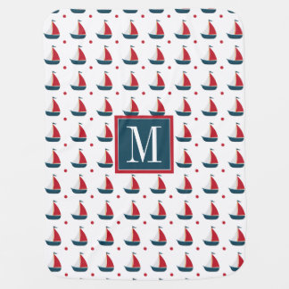 Nautical | Red White Blue Sailboats & Polka Dots Baby Blanket