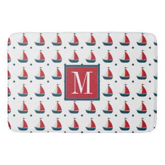 Nautical | Red White Blue Sailboats & Polka Dots Bath Mat