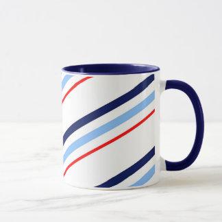 Nautical Red White Blue Stripes Mug