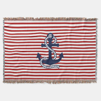 Nautical Red White Stripes and Blue Anchor Throw Blanket