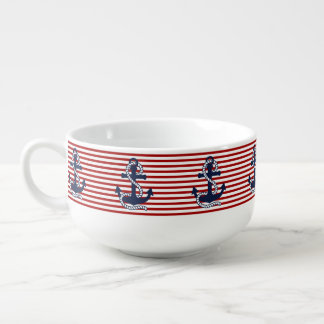Nautical Red White Stripes and Blue Anchors Soup Bowl With Handle
