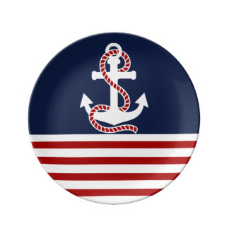 Nautical Red White Stripes and White Anchor Porcelain Plate