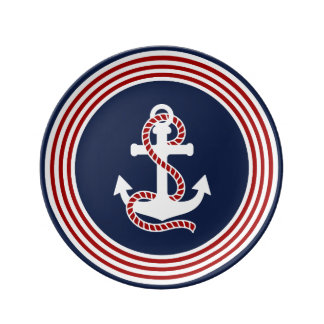 Nautical Red White Stripes and White Anchor Porcelain Plates