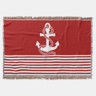 Nautical Red White Stripes and White Anchor Throw Blanket