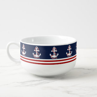 Nautical Red White Stripes and White Anchors Soup Bowl With Handle