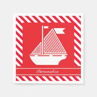 Nautical Red & White Stripes | DIY  Color Paper Napkin