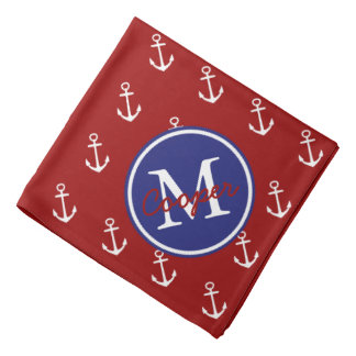 Nautical Red White With Blue Anchor Monogram Do-rag