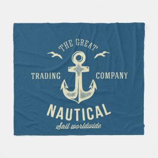 Nautical Retro Logo Fleece Blanket