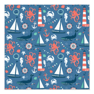 Nautical retro sailor girly pattern with anchors invitations