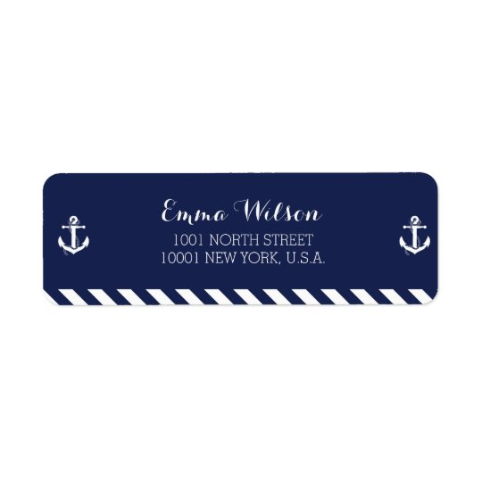 Nautical Return Address Labels With Stripes