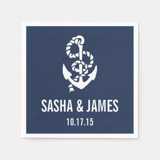 Nautical Rope & Anchor Personalised Disposable Serviettes