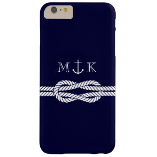 Nautical Rope and Anchor Monogram in Navy Barely There iPhone 6 Plus Case