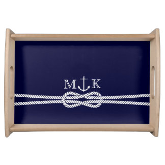 Nautical Rope and Anchor Monogram in Navy Serving Tray