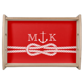 Nautical Rope and Anchor Monogram in Red Serving Tray