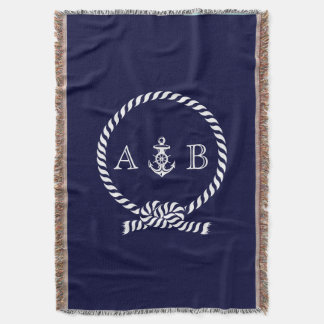 Nautical Rope and Anchor Monogram Throw Blanket