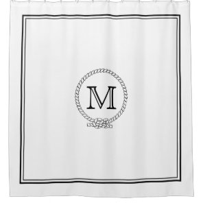 Nautical Rope Custom Monogram Shower Curtain