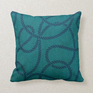 Nautical Rope in Ocean Blue Green Cushion