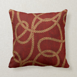Nautical Rope Red and Natural Cushion